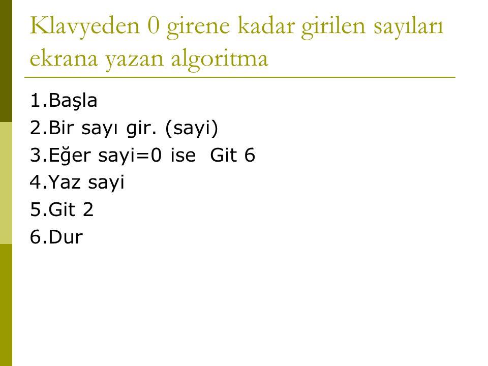 Klavyeden 0 girene kadar girilen sayıları ekrana yazan algoritma 1.Başla 2.Bir sayı gir. (sayi) 3.Eğer sayi=0 ise Git 6 4.Yaz sayi 5.Git 2 6.Dur