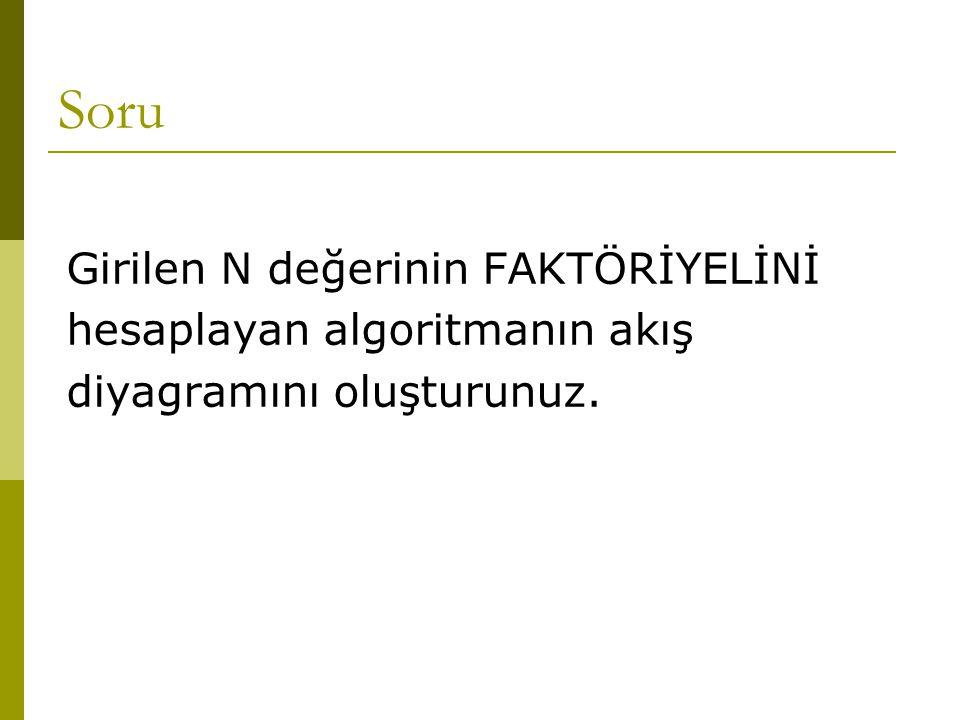 Soru Girilen N değerinin FAKTÖRİYELİNİ hesaplayan algoritmanın akış diyagramını oluşturunuz.