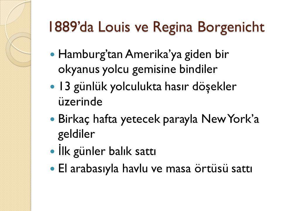 1889'da Louis ve Regina Borgenicht  Hamburg'tan Amerika'ya giden bir okyanus yolcu gemisine bindiler  13 günlük yolculukta hasır döşekler üzerinde 
