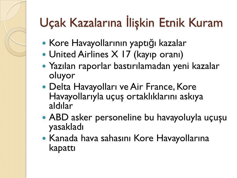 Uçak Kazalarına İ lişkin Etnik Kuram  Kore Havayollarının yaptı ğ ı kazalar  United Airlines X 17 (kayıp oranı)  Yazılan raporlar bastırılamadan ye