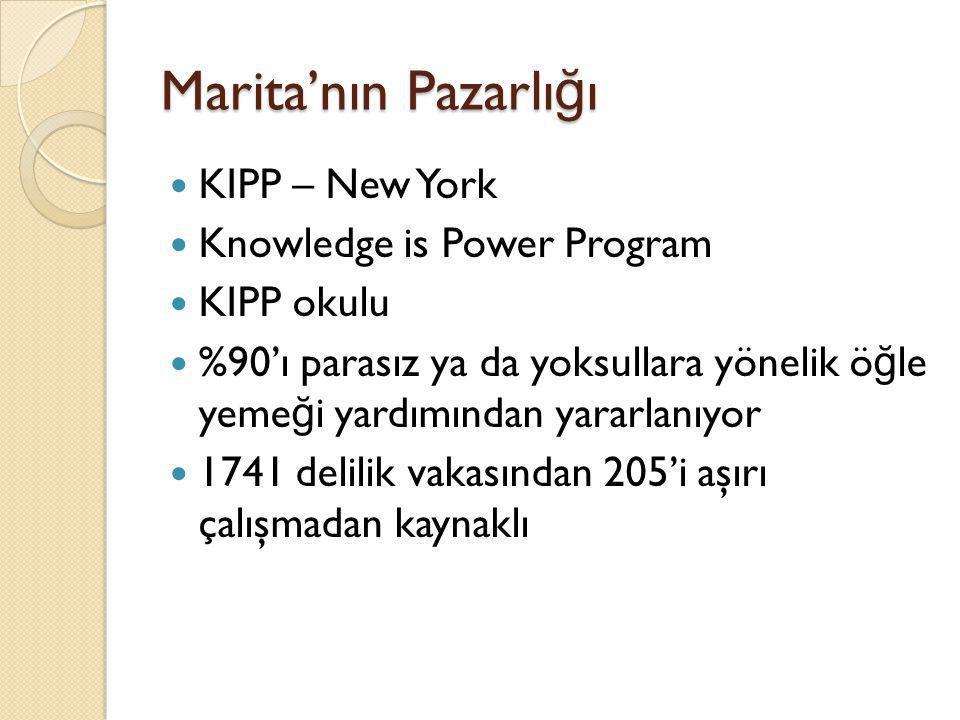 Marita'nın Pazarlı ğ ı  KIPP – New York  Knowledge is Power Program  KIPP okulu  %90'ı parasız ya da yoksullara yönelik ö ğ le yeme ğ i yardımında