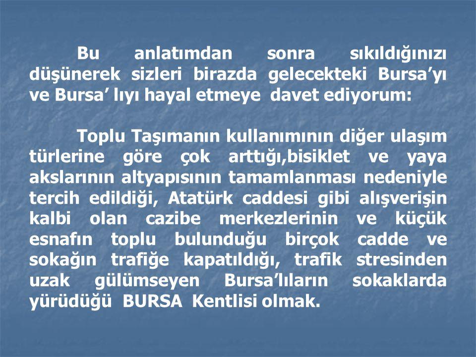 Bu anlatımdan sonra sıkıldığınızı düşünerek sizleri birazda gelecekteki Bursa'yı ve Bursa' lıyı hayal etmeye davet ediyorum: Toplu Taşımanın kullanımı