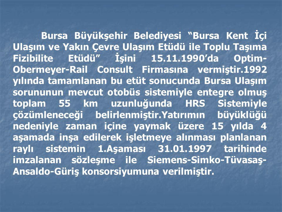 """Bursa Büyükşehir Belediyesi """"Bursa Kent İçi Ulaşım ve Yakın Çevre Ulaşım Etüdü ile Toplu Taşıma Fizibilite Etüdü"""" İşini 15.11.1990'da Optim- Obermeyer"""