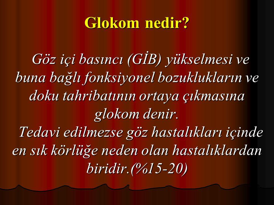 Glokom nedir? Göz içi basıncı (GİB) yükselmesi ve buna bağlı fonksiyonel bozuklukların ve doku tahribatının ortaya çıkmasına glokom denir. Tedavi edil