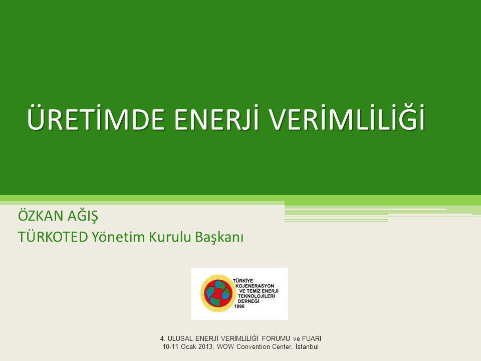 ÜRETİMDE ENERJİ VERİMLİLİĞİ ÖZKAN AĞIŞ TÜRKOTED Yönetim Kurulu Başkanı 4.