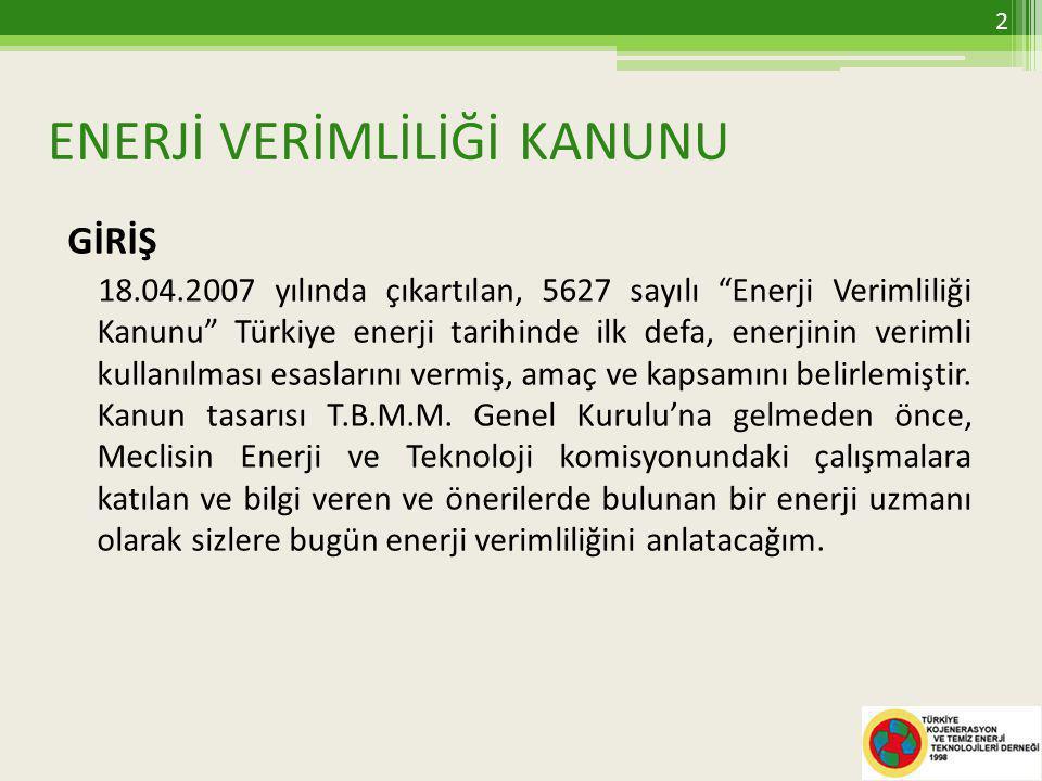 ENERJİ VERİMLİLİĞİ KANUNU GİRİŞ 18.04.2007 yılında çıkartılan, 5627 sayılı Enerji Verimliliği Kanunu Türkiye enerji tarihinde ilk defa, enerjinin verimli kullanılması esaslarını vermiş, amaç ve kapsamını belirlemiştir.