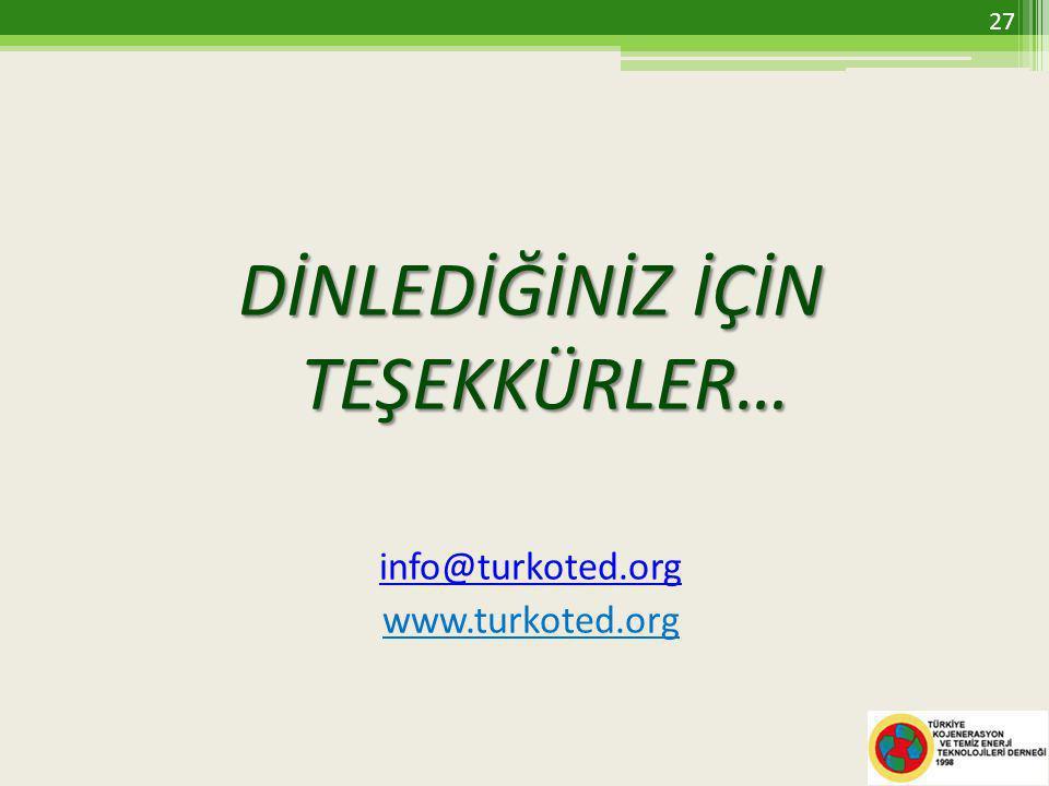 DİNLEDİĞİNİZ İÇİN TEŞEKKÜRLER… info@turkoted.org www.turkoted.org 27