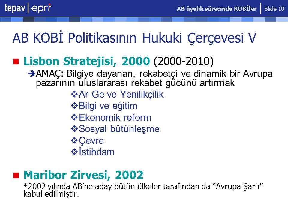 AB üyelik sürecinde KOBİler Slide 10 AB KOBİ Politikasının Hukuki Çerçevesi V  Lisbon Stratejisi, 2000 (2000-2010)  AMAÇ: B ilgiye dayanan, rekabetçi ve dinamik bir Avrupa pazarının uluslararası rekabet gücünü artırmak  Ar-Ge ve Yenilikçilik  Bilgi ve eğitim  Ekonomik reform  Sosyal bütünleşme  Çevre  İstihdam  Maribor Zirvesi, 2002 *2002 yılında AB'ne aday bütün ülkeler tarafından da Avrupa Şartı kabul edilmiştir.