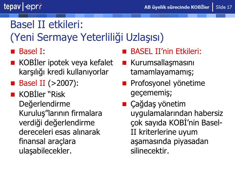 AB üyelik sürecinde KOBİler Slide 17 Basel II etkileri: (Yeni Sermaye Yeterliliği Uzlaşısı)  Basel I:  KOBİler ipotek veya kefalet karşılığı kredi kullanıyorlar  Basel II (>2007):  KOBİler Risk Değerlendirme Kuruluş larının firmalara verdiği değerlendirme dereceleri esas alınarak finansal araçlara ulaşabilecekler.