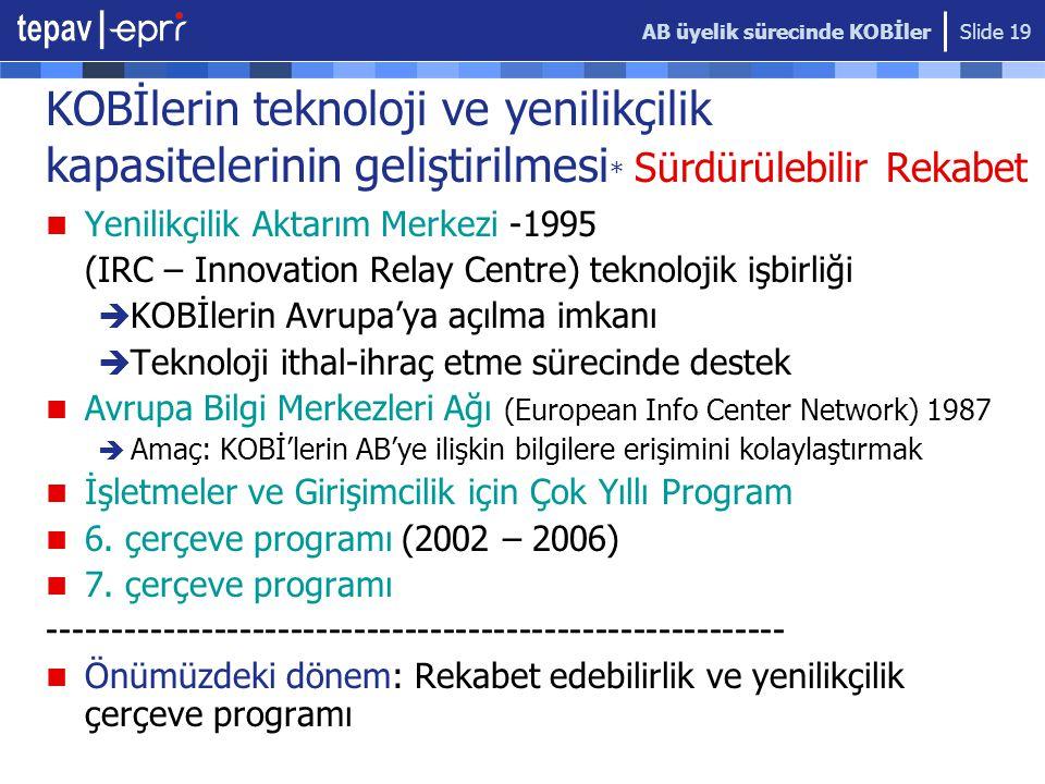 AB üyelik sürecinde KOBİler Slide 19 KOBİlerin teknoloji ve yenilikçilik kapasitelerinin geliştirilmesi * Sürdürülebilir Rekabet  Yenilikçilik Aktarım Merkezi -1995 (IRC – Innovation Relay Centre) teknolojik işbirliği  KOBİlerin Avrupa'ya açılma imkanı  Teknoloji ithal-ihraç etme sürecinde destek  Avrupa Bilgi Merkezleri Ağı (European Info Center Network) 1987  Amaç: KOBİ'lerin AB'ye ilişkin bilgilere erişimini kolaylaştırmak  İşletmeler ve Girişimcilik için Çok Yıllı Program  6.
