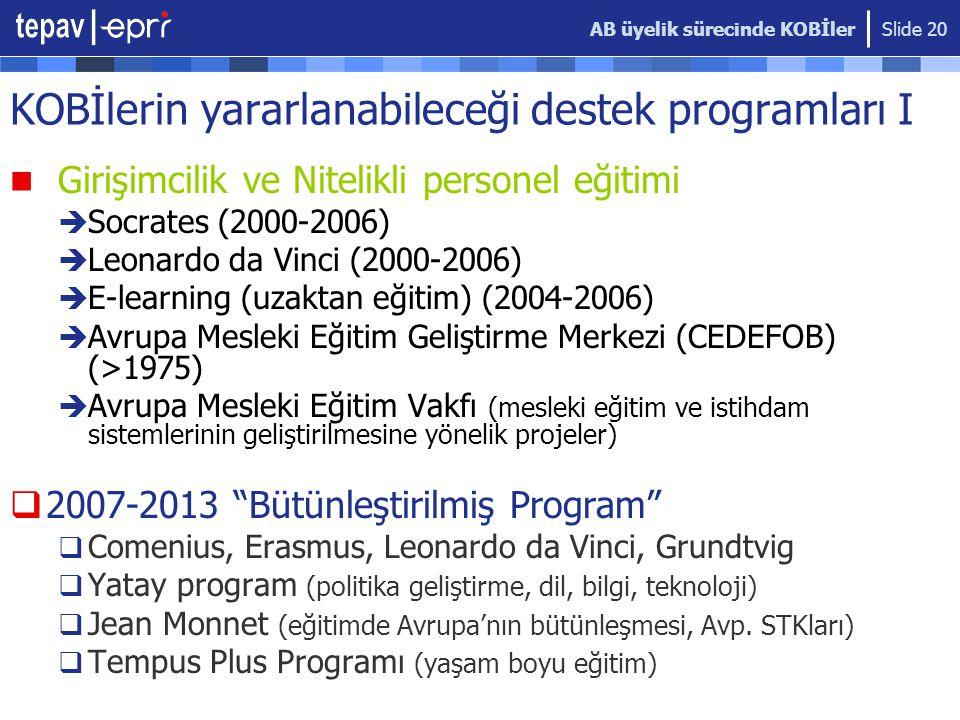 AB üyelik sürecinde KOBİler Slide 20 KOBİlerin yararlanabileceği destek programları I  Girişimcilik ve Nitelikli personel eğitimi  Socrates (2000-2006)  Leonardo da Vinci (2000-2006)  E-learning (uzaktan eğitim) (2004-2006)  Avrupa Mesleki Eğitim Geliştirme Merkezi (CEDEFOB) (>1975)  Avrupa Mesleki Eğitim Vakfı (mesleki eğitim ve istihdam sistemlerinin geliştirilmesine yönelik projeler)  2007-2013 Bütünleştirilmiş Program  Comenius, Erasmus, Leonardo da Vinci, Grundtvig  Yatay program (politika geliştirme, dil, bilgi, teknoloji)  Jean Monnet (eğitimde Avrupa'nın bütünleşmesi, Avp.