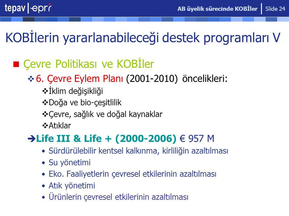 AB üyelik sürecinde KOBİler Slide 24 KOBİlerin yararlanabileceği destek programları V  Çevre Politikası ve KOBİler  6.