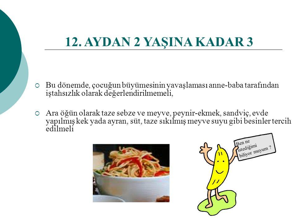12. AYDAN 2 YAŞINA KADAR 2  Çocuk aile besinleri yiyebilir, kendi kendine yemesine destek olunmalı  Yemeklerin porsiyonlarını küçük tutulması ve çoc