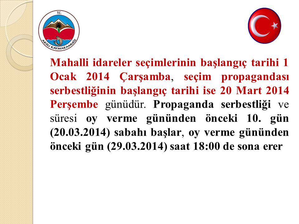 Açık yerlerde propaganda; (1 Ocak 2014 ) - (29 Mart 2014)