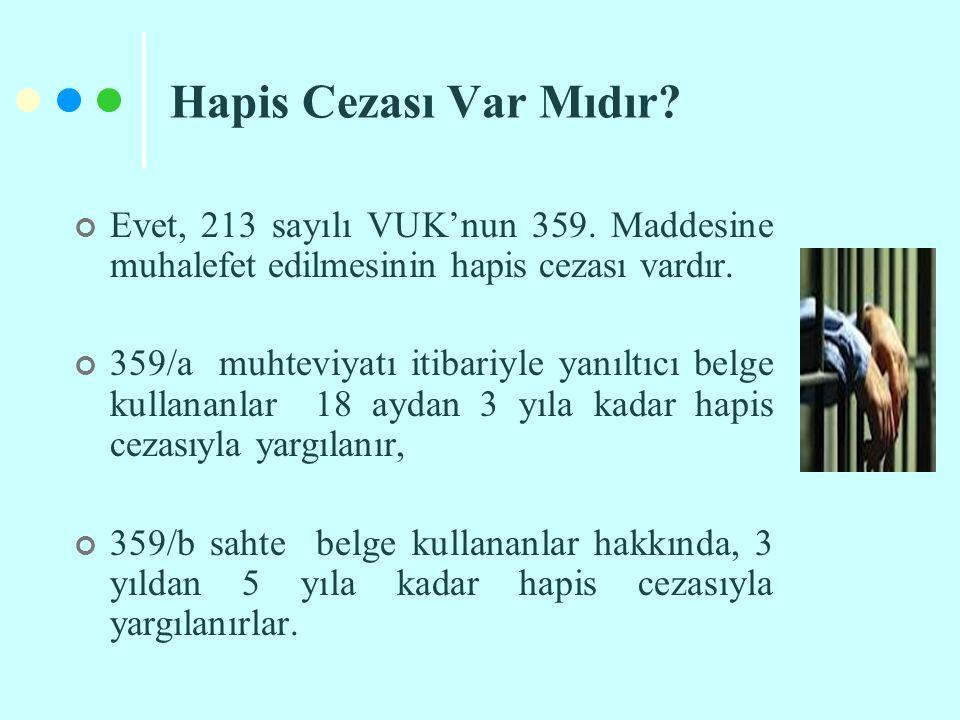 Hapis Cezası Var Mıdır? Evet, 213 sayılı VUK'nun 359. Maddesine muhalefet edilmesinin hapis cezası vardır. 359/a muhteviyatı itibariyle yanıltıcı belg