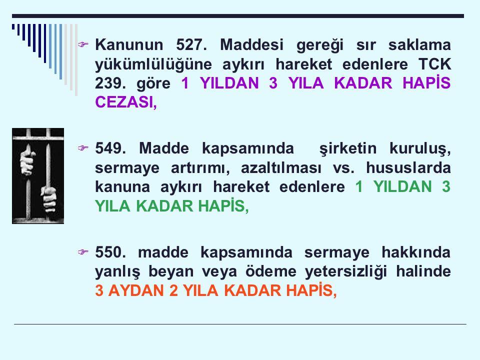  Kanunun 527. Maddesi gereği sır saklama yükümlülüğüne aykırı hareket edenlere TCK 239. göre 1 YILDAN 3 YILA KADAR HAPİS CEZASI,  549. Madde kapsamı
