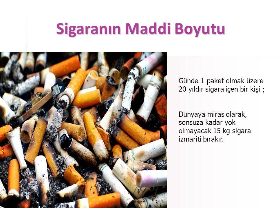Sigaranın Maddi Boyutu Günde 1 paket olmak üzere 20 yıldır sigara içen bir kişi için;  7200 adet yetişkin ağaç kesilmiştir (yaklaşık 30.000m 2 ağaçlı