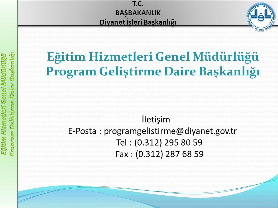 İletişim E-Posta : programgelistirme@diyanet.gov.tr Tel : (0.312) 295 80 59 Fax : (0.312) 287 68 59 T.C. BAŞBAKANLIK Diyanet İşleri Başkanlığı T.C. BA