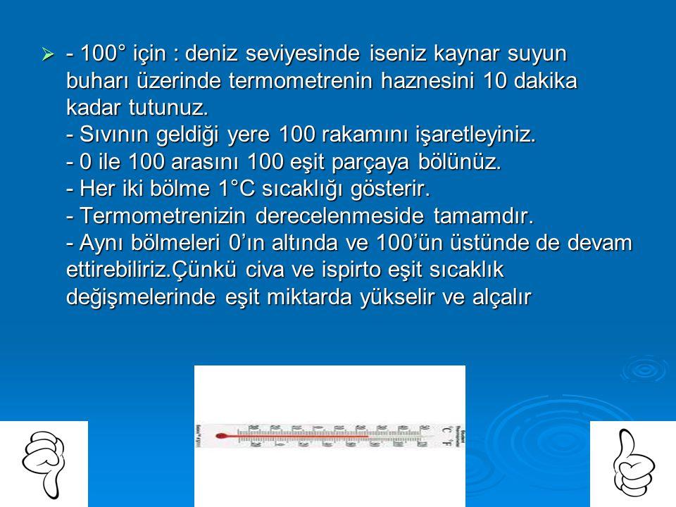 Sıvılı (Civalı veya ispirtolu) termometre nasıl yapılır ve nasıl derecelenir?  Yapılışı: - Alt kısmı balonlu ve balonsuz 30 cm kadar ince boru alınır
