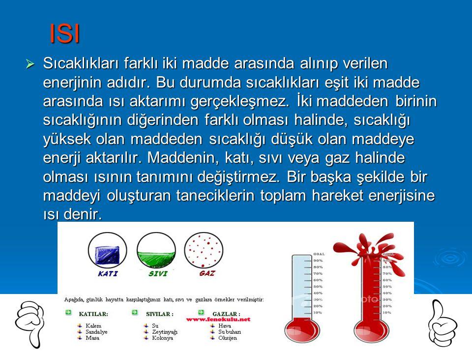 ISI  Sıcaklıkları farklı iki madde arasında alınıp verilen enerjinin adıdır.