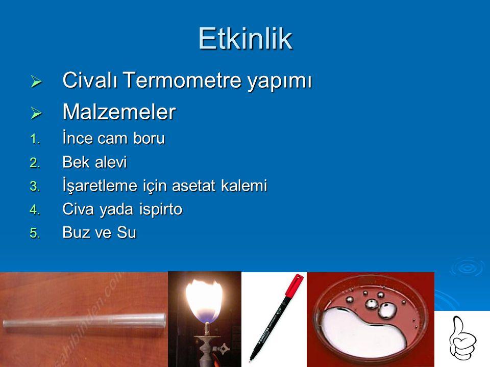 Etkinlik  Civalı Termometre yapımı  Malzemeler 1.