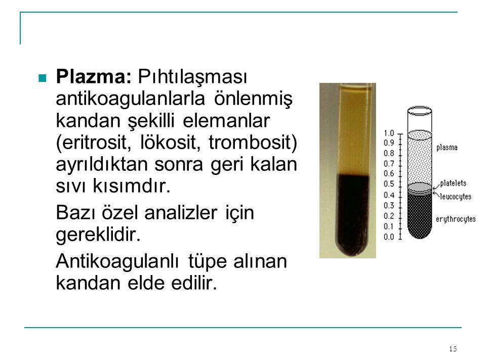 15  Plazma: Pıhtılaşması antikoagulanlarla önlenmiş kandan şekilli elemanlar (eritrosit, lökosit, trombosit) ayrıldıktan sonra geri kalan sıvı kısımd