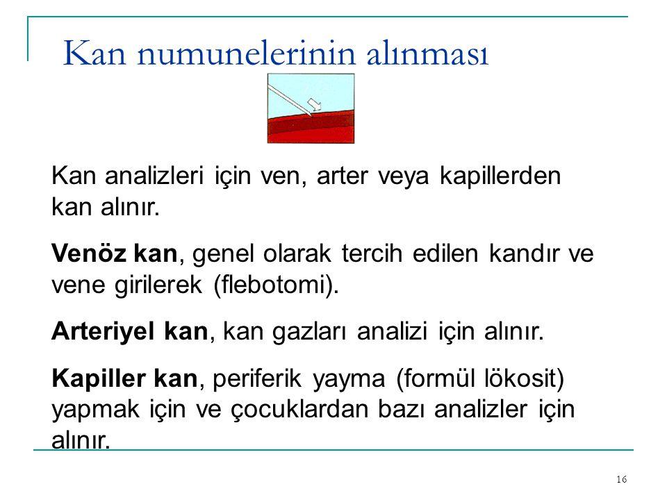 16 Kan numunelerinin alınması Kan analizleri için ven, arter veya kapillerden kan alınır. Venöz kan, genel olarak tercih edilen kandır ve vene giriler