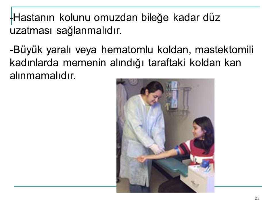 22 - Hastanın kolunu omuzdan bileğe kadar düz uzatması sağlanmalıdır. -Büyük yaralı veya hematomlu koldan, mastektomili kadınlarda memenin alındığı ta