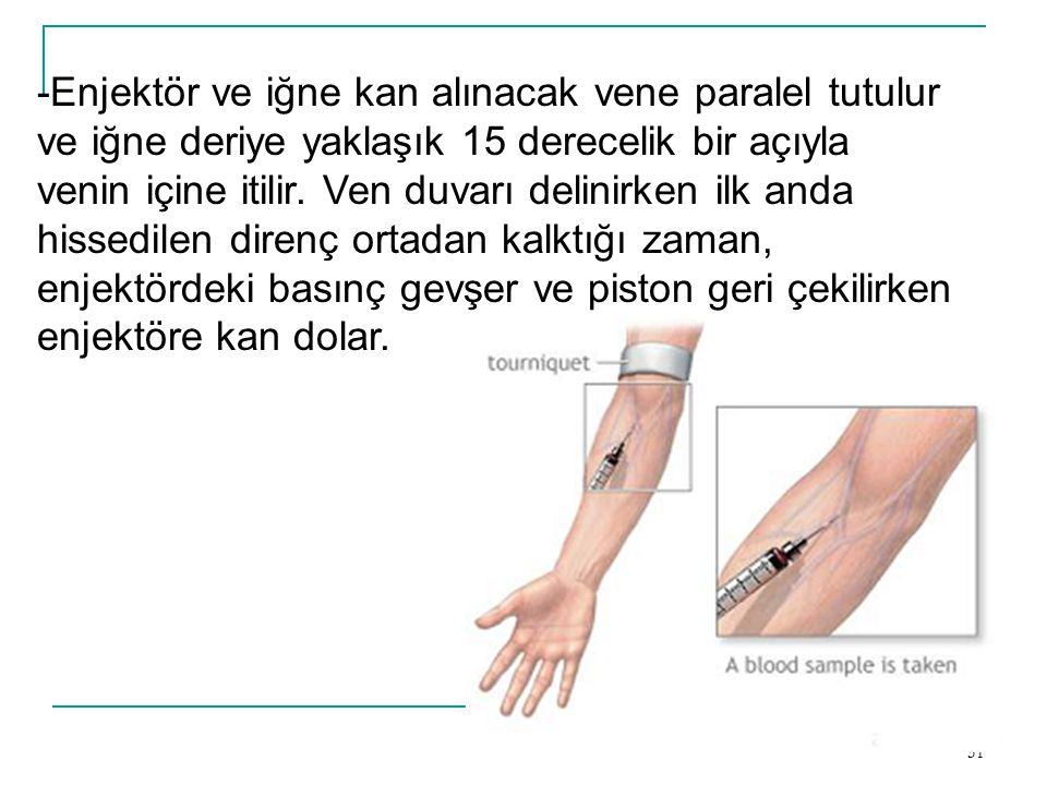 31 -Enjektör ve iğne kan alınacak vene paralel tutulur ve iğne deriye yaklaşık 15 derecelik bir açıyla venin içine itilir. Ven duvarı delinirken ilk a