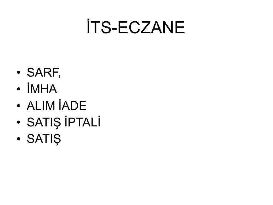 •SARF, •İMHA •ALIM İADE •SATIŞ İPTALİ •SATIŞ İTS-ECZANE