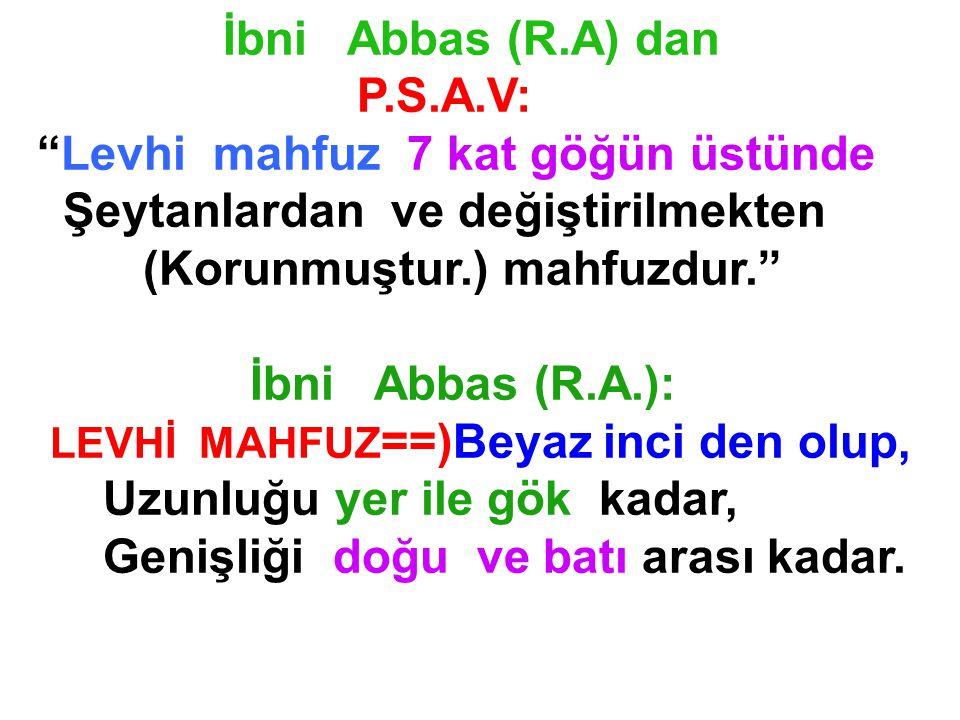 "İbni Abbas (R.A) dan P.S.A.V: ""Levhi mahfuz 7 kat göğün üstünde Şeytanlardan ve değiştirilmekten (Korunmuştur.) mahfuzdur."" İbni Abbas (R.A.): LEVHİ M"