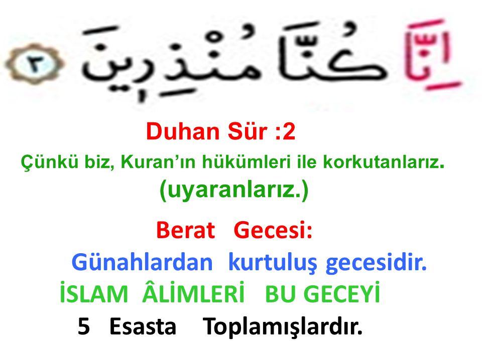 Duhan Sür :2 Çünkü biz, Kuran'ın hükümleri ile korkutanlarız. (uyaranlarız.) Berat Gecesi: Günahlardan kurtuluş gecesidir. İSLAM ÂLİMLERİ BU GECEYİ 5