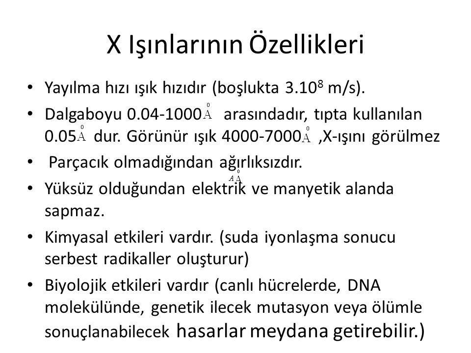 X Işınlarının Özellikleri • Yayılma hızı ışık hızıdır (boşlukta 3.10 8 m/s). • Dalgaboyu 0.04-1000 arasındadır, tıpta kullanılan 0.05 dur. Görünür ışı