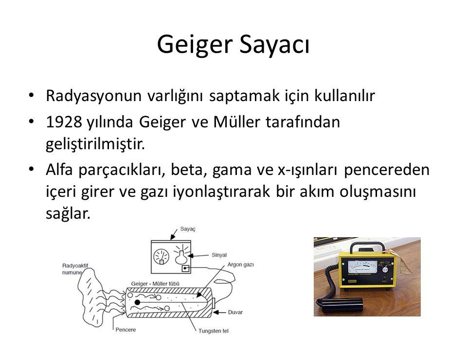 Geiger Sayacı • Radyasyonun varlığını saptamak için kullanılır • 1928 yılında Geiger ve Müller tarafından geliştirilmiştir. • Alfa parçacıkları, beta,
