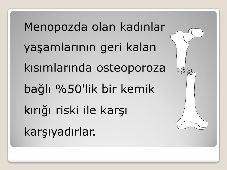 Menopozda olan kadınlar yaşamlarının geri kalan kısımlarında osteoporoza bağlı %50'lik bir kemik kırığı riski ile karşı karşıyadırlar.