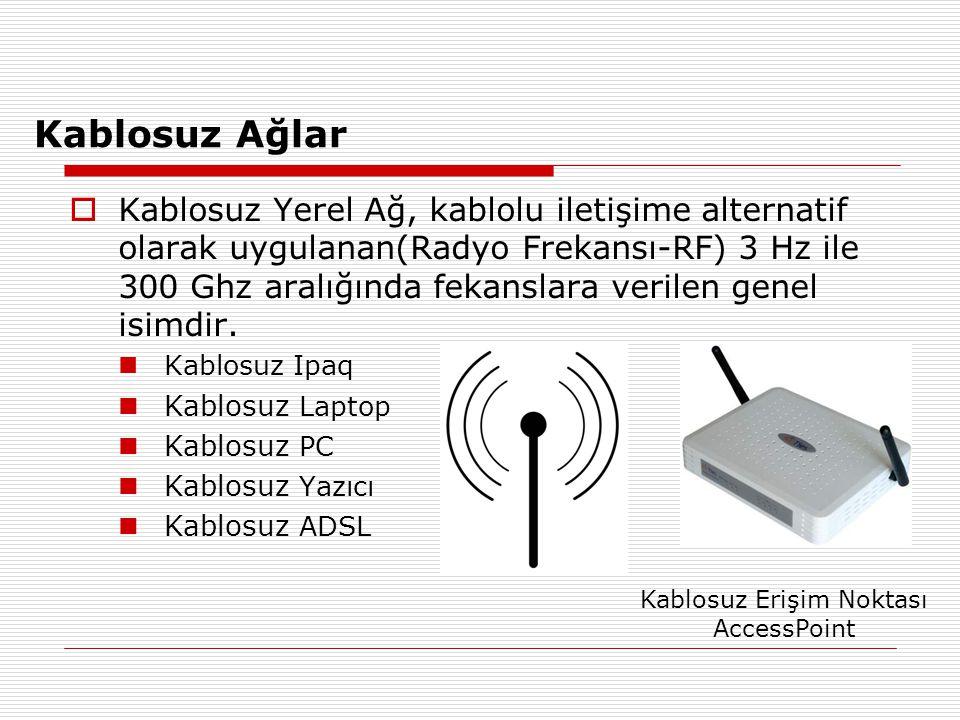 Kablosuz Ağlar  Kablosuz Yerel Ağ, kablolu iletişime alternatif olarak uygulanan(Radyo Frekansı-RF) 3 Hz ile 300 Ghz aralığında fekanslara verilen ge