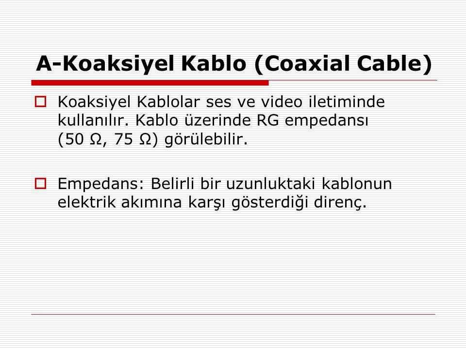 A-Koaksiyel Kablo (Coaxial Cable)  Koaksiyel Kablolar ses ve video iletiminde kullanılır. Kablo üzerinde RG empedansı (50 Ω, 75 Ω) görülebilir.  Emp