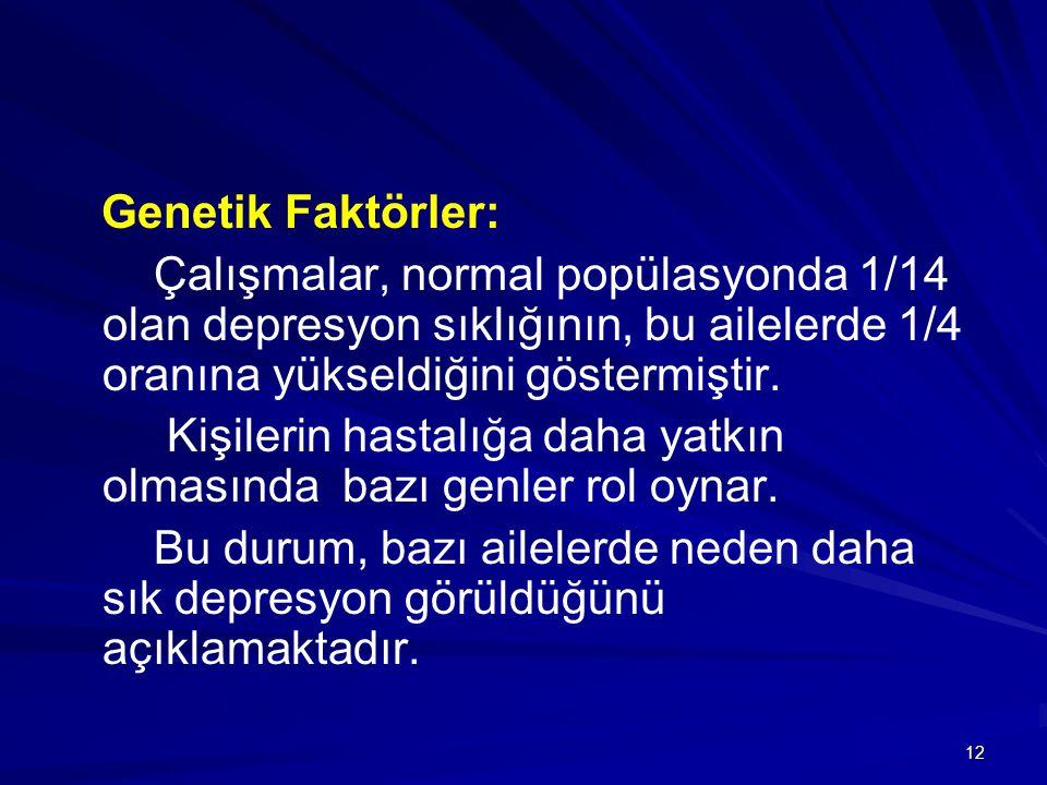 12 Genetik Faktörler: Çalışmalar, normal popülasyonda 1/14 olan depresyon sıklığının, bu ailelerde 1/4 oranına yükseldiğini göstermiştir. Kişilerin ha