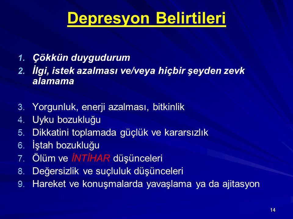 14 Depresyon Belirtileri 1. 1. Çökkün duygudurum 2. 2. İlgi, istek azalması ve/veya hiçbir şeyden zevk alamama 3. 3. Yorgunluk, enerji azalması, bitki