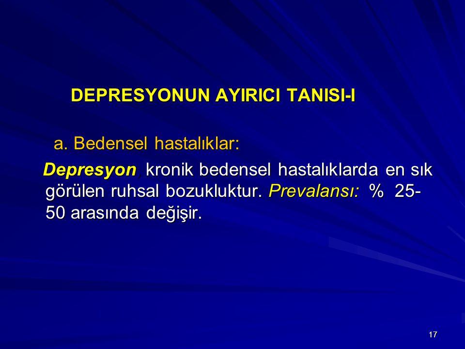 17 DEPRESYONUN AYIRICI TANISI-I DEPRESYONUN AYIRICI TANISI-I a. Bedensel hastalıklar: a. Bedensel hastalıklar: Depresyon, kronik bedensel hastalıklard