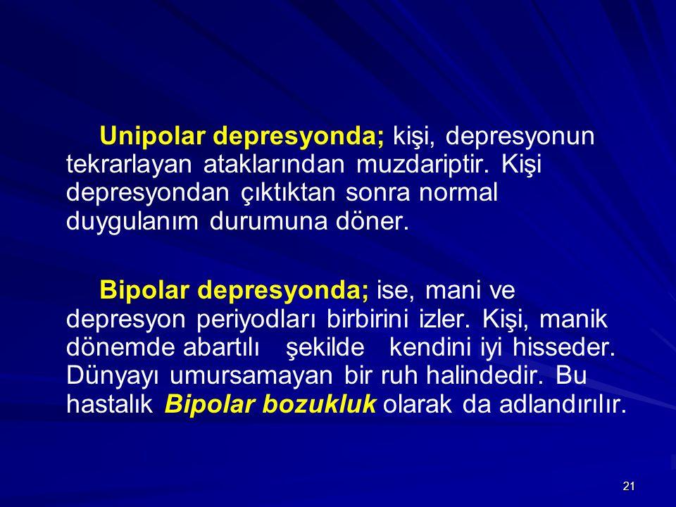 21 Unipolar depresyonda; kişi, depresyonun tekrarlayan ataklarından muzdariptir. Kişi depresyondan çıktıktan sonra normal duygulanım durumuna döner. B