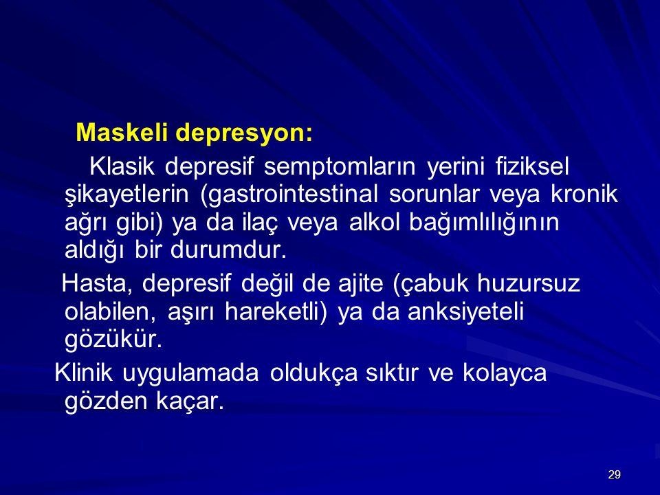 29 Maskeli depresyon: Klasik depresif semptomların yerini fiziksel şikayetlerin (gastrointestinal sorunlar veya kronik ağrı gibi) ya da ilaç veya alko