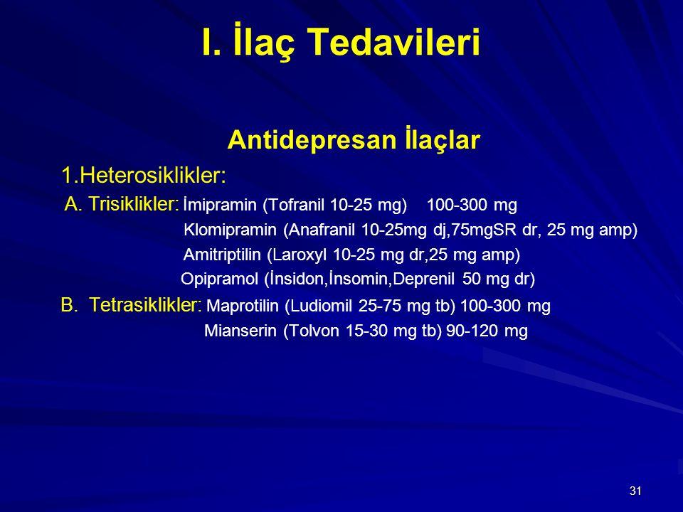 31 I. İlaç Tedavileri Antidepresan İlaçlar 1.Heterosiklikler: A. Trisiklikler: İmipramin (Tofranil 10-25 mg) 100-300 mg Klomipramin (Anafranil 10-25mg