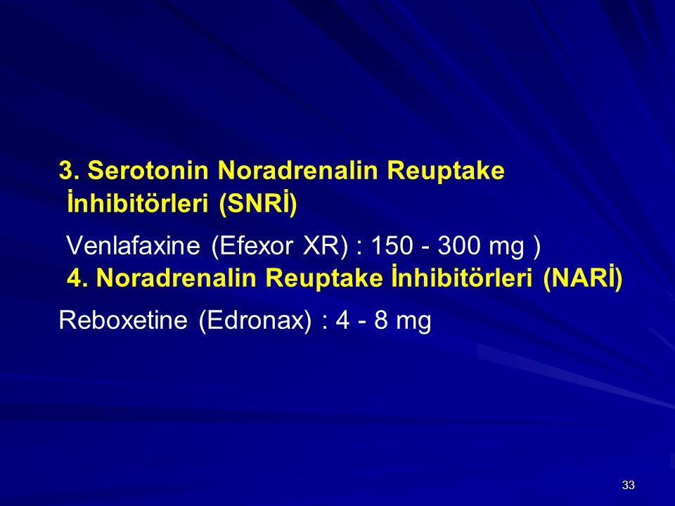 33 3. Serotonin Noradrenalin Reuptake İnhibitörleri (SNRİ) Venlafaxine (Efexor XR) : 150 - 300 mg ) 4. Noradrenalin Reuptake İnhibitörleri (NARİ) Rebo