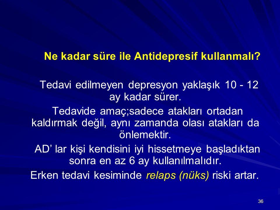 36 Ne kadar süre ile Antidepresif kullanmalı? Tedavi edilmeyen depresyon yaklaşık 10 - 12 ay kadar sürer. Tedavide amaç;sadece atakları ortadan kaldır