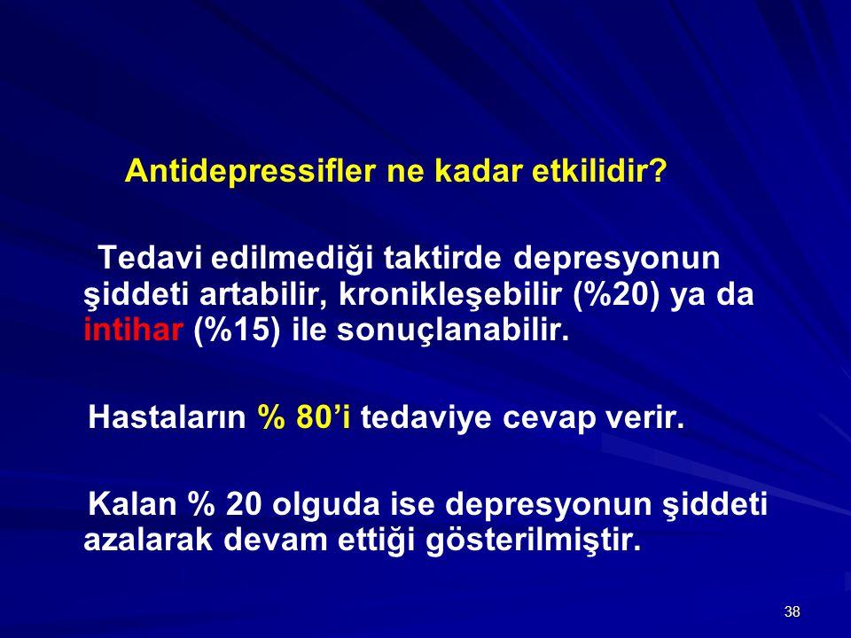 38 Antidepressifler ne kadar etkilidir? Tedavi edilmediği taktirde depresyonun şiddeti artabilir, kronikleşebilir (%20) ya da intihar (%15) ile sonuçl