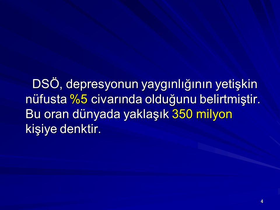 4 DSÖ, depresyonun yaygınlığının yetişkin nüfusta %5 civarında olduğunu belirtmiştir. Bu oran dünyada yaklaşık 350 milyon kişiye denktir. DSÖ, depresy