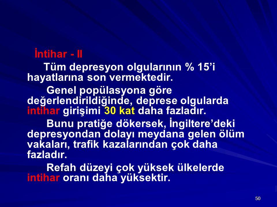 50 İntihar - II Tüm depresyon olgularının % 15'i hayatlarına son vermektedir. Genel popülasyona göre değerlendirildiğinde, deprese olgularda intihar g