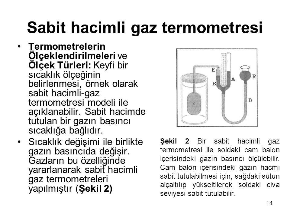 14 Sabit hacimli gaz termometresi •Termometrelerin Ölçeklendirilmeleri ve Ölçek Türleri: Keyfi bir sıcaklık ölçeğinin belirlenmesi, örnek olarak sabit