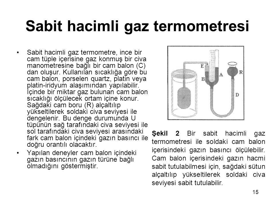 15 Sabit hacimli gaz termometresi •Sabit hacimli gaz termometre, ince bir cam tüple içerisine gaz konmuş bir civa manometresine bağlı bir cam balon (C